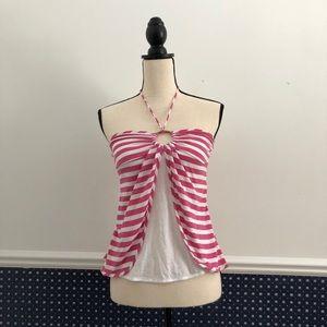 Ella Moss Striped Halter Neck Tie Top (metallic)